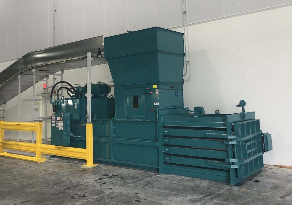 Conveyer-fed-cardboard-baling-system